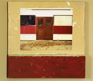 Mixed media artwork, a photo mounted to a section of door