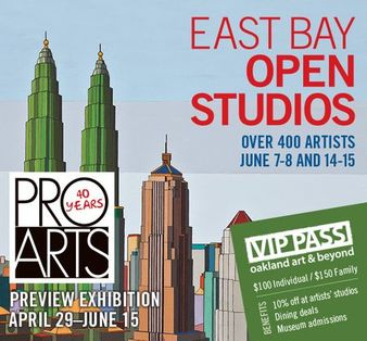 Logo for East Bay Open Studios 2014, sponsored by Pro Arts Gallery in Oakland, CA