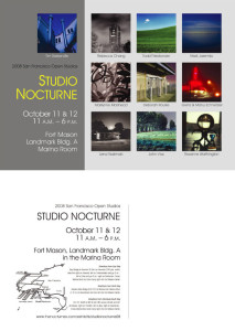 Both sides of postcard for Studio Nocturne 2008, part of San Francisco Open Studios